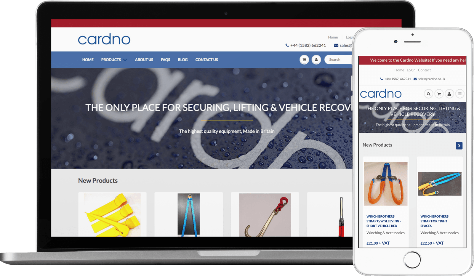Macbook / iPhone view of the Cardno website
