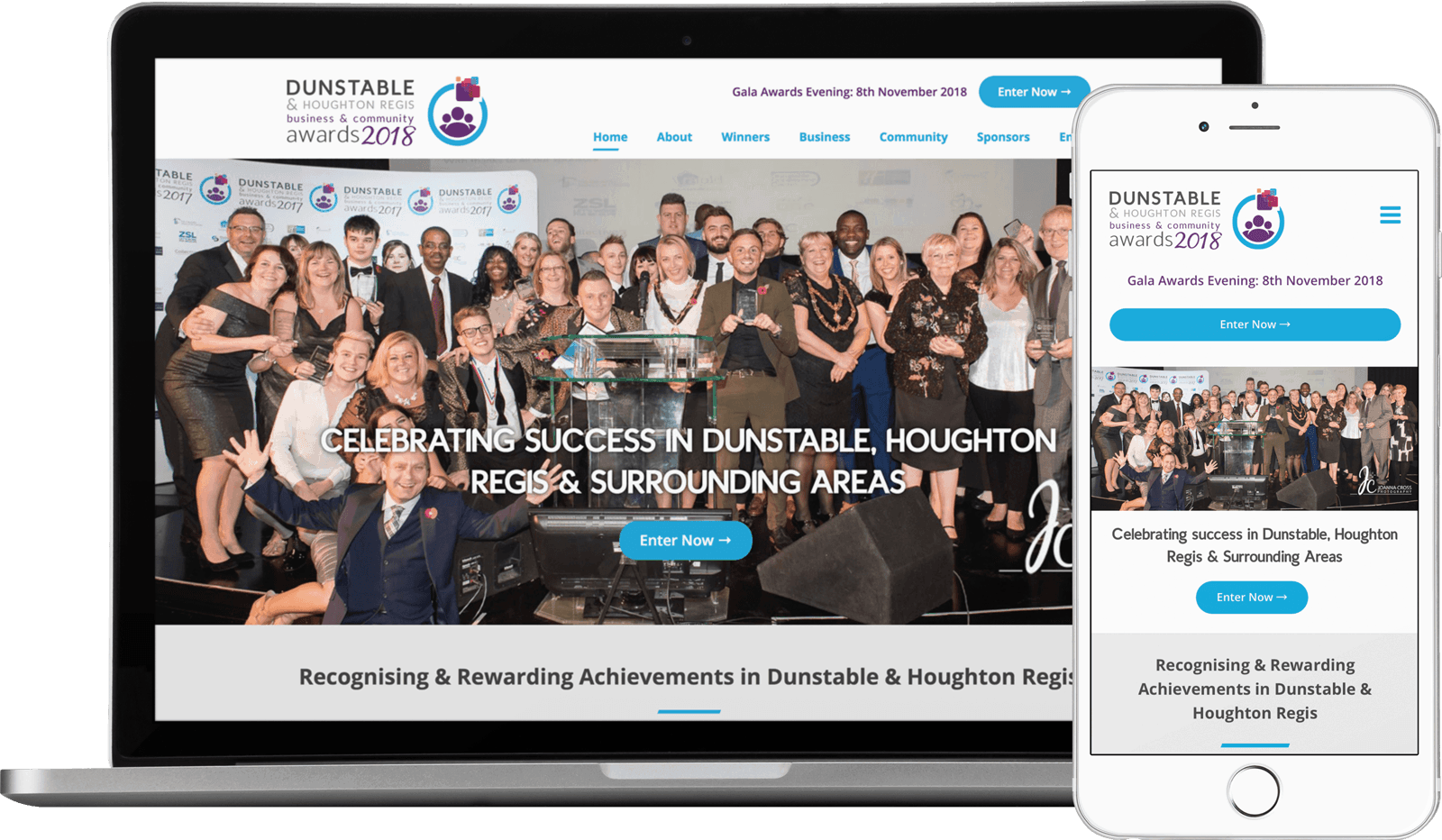 Macbook / iPhone view of Dunstable & Houghton Regis Business & Community Awards website