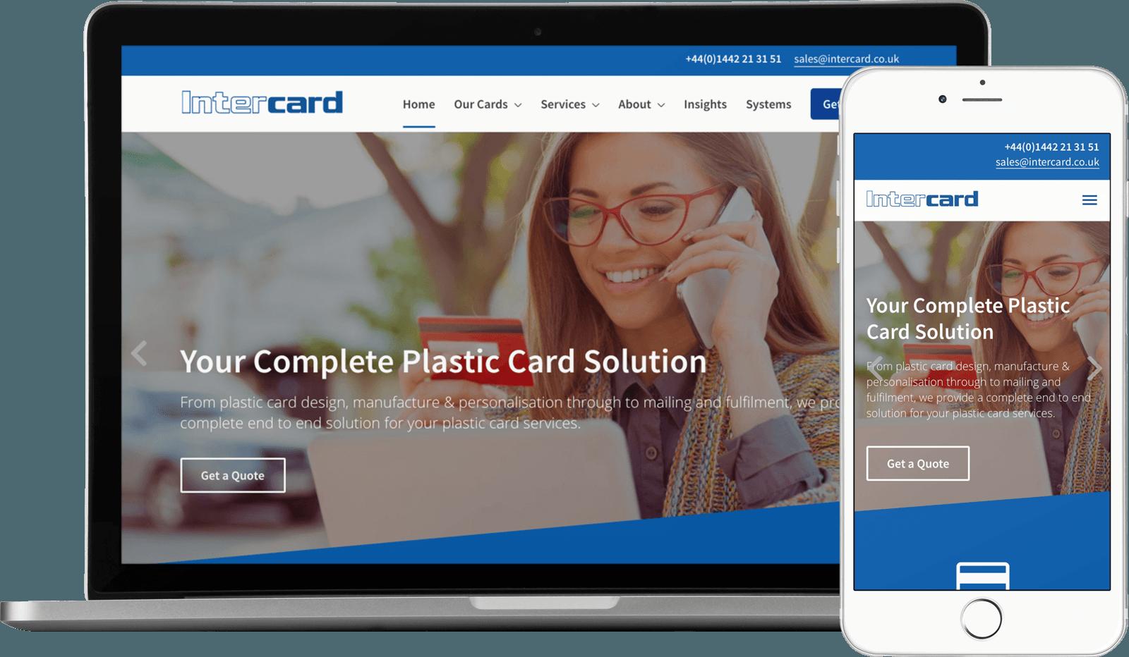 Macbook / iPhone view of the Intercard website
