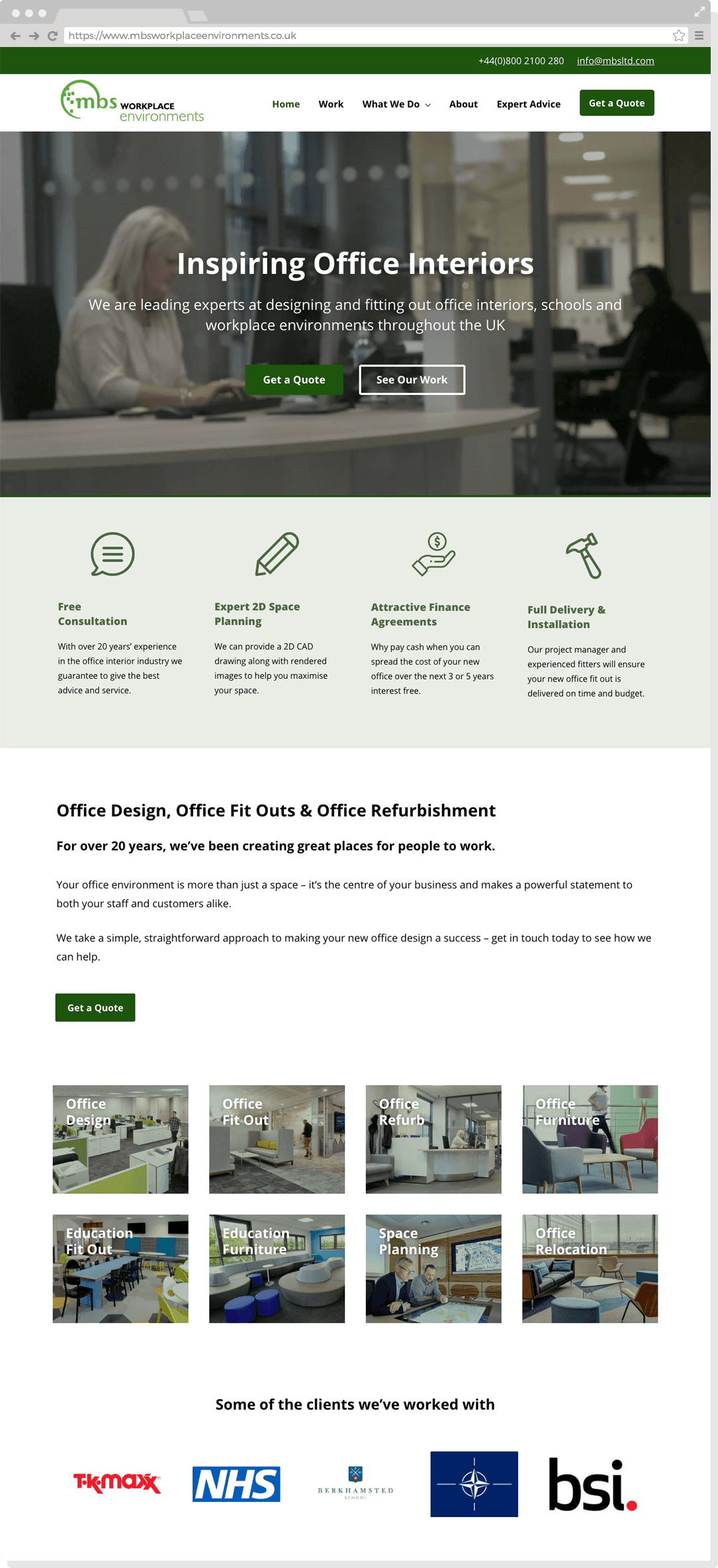 Home page of the MBS Workplace Environments website