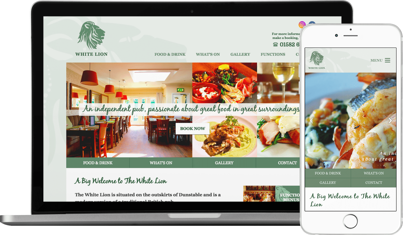 Macbook / iPhone view of The White Lion Pub website