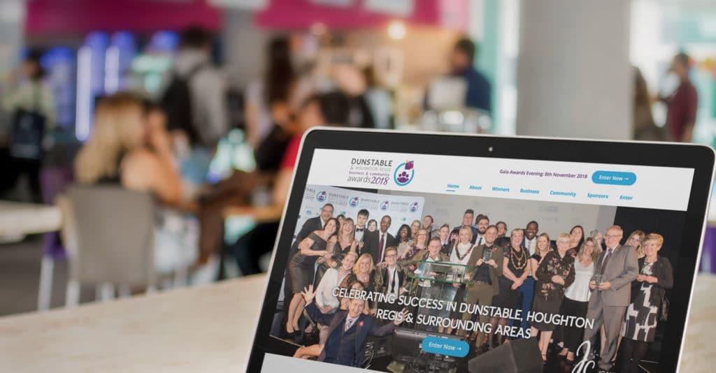Laptop showing Dunstable Awards website