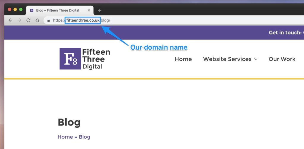 Fifteen Three domain name shown in a browser window