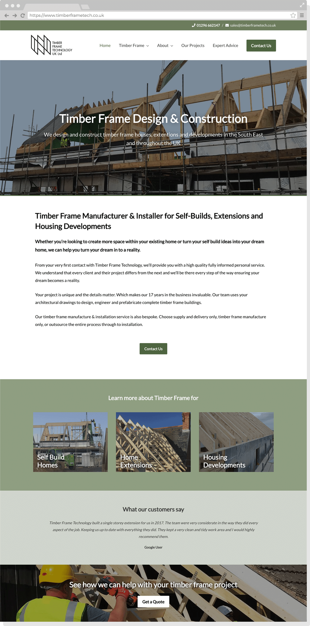 Home page of the Timber Frame Technology Website