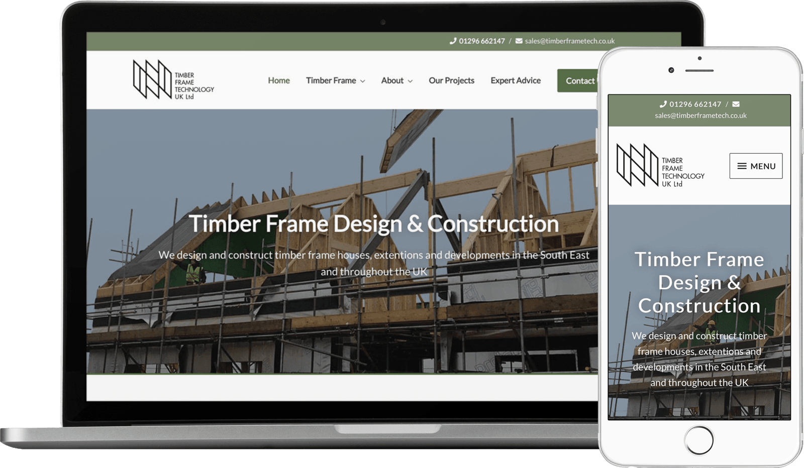 Macbook / iPhone view of The Timber Frame Technology website