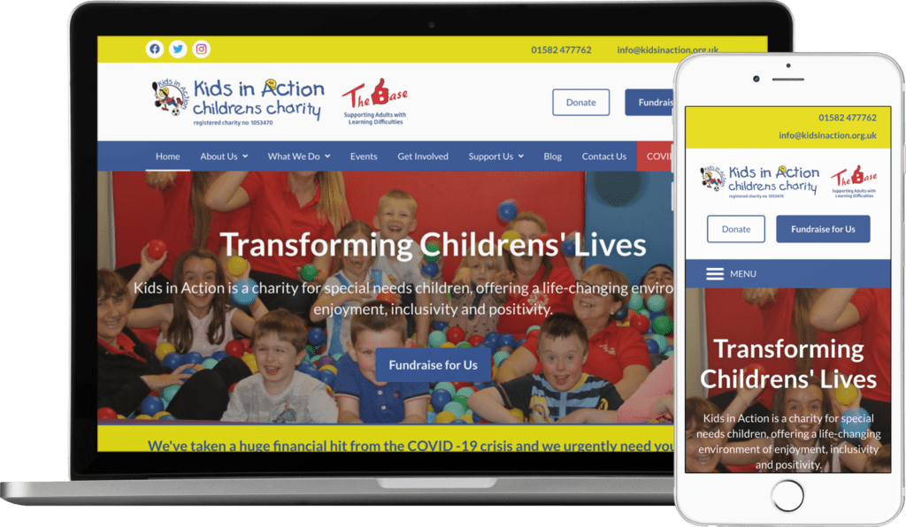 Website Redesign for Kids in Action in Dunstable