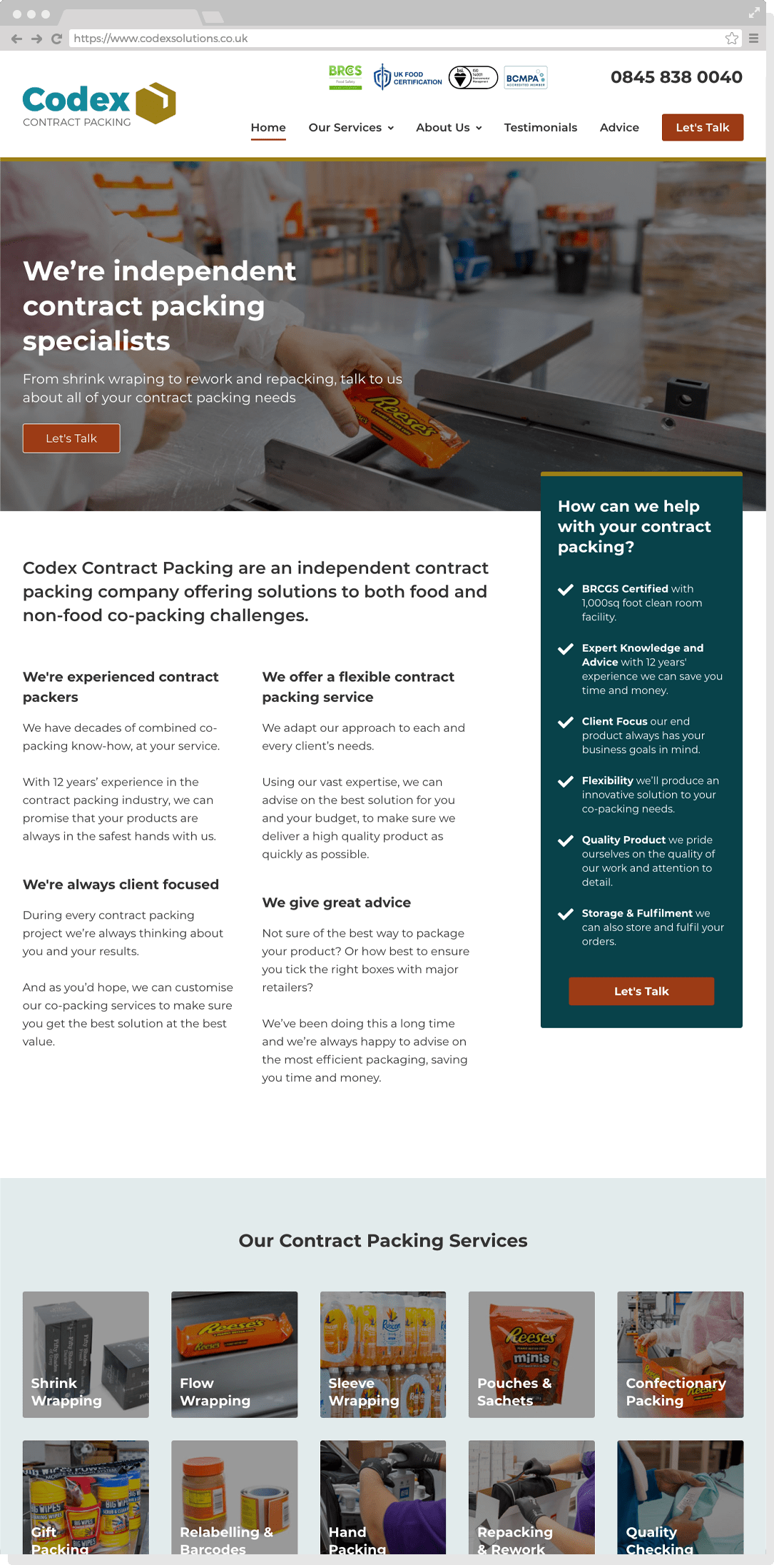 Website Redesign for Codex Contract Packing in Leighton Buzzard